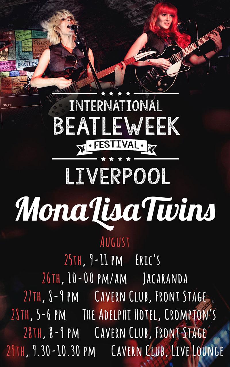 MonaLisa Twins live show calendar for International Beatleweek in August 2016